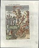 Sati India Hindu practice Human Sacrifice fire burn 1719 antique engraved print