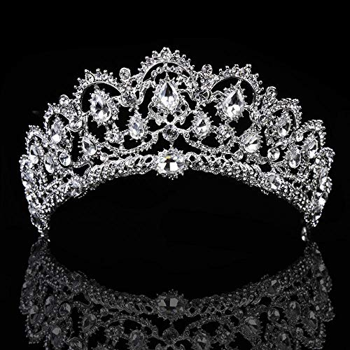 ThyWay Vintage Crystal Diamond Bride Bridal Wedding Hair Head Band Wear Rhinestone Jewelry Headdress Headband Tiara Coronal Big Crown Pageant (Style 1) -