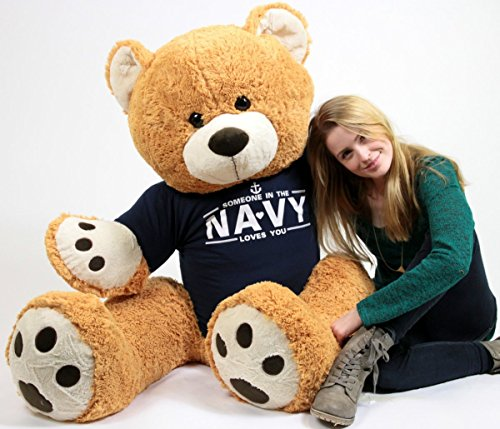 United States Navy Big Plush Giant Teddy Bear Five Feet Tall Honey Brown Color Wears Tshirt that says SOMEONE IN THE NAVY LOVES YOU - Navy Bear
