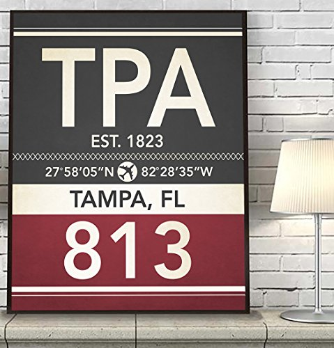 Tampa Florida TPA 813 Vintage Airport Area Code Map Coordinates Subway Art Print, UNFRAMED, Customized Colors, Christmas - Father's Day - Housewarming gift home decor poster, ALL - Ray Prints Day