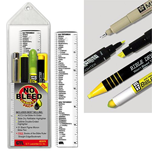 Accu-Gel, Zebrite, Pigma Micron & Bible Dry - No Bleed Variety Highlighting and Underlining Pack (Set of (Accu Ruler)