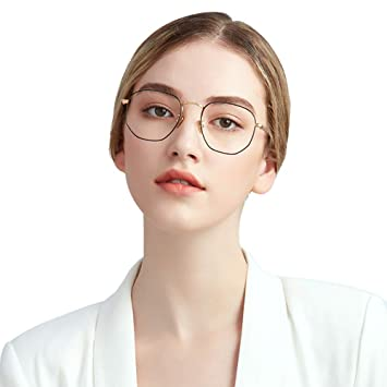 aa8bf09598 Oversized Round Eyewear for Ladies Men Flat Clear Lens Block Blue Light  Metal Frame  Amazon.co.uk  Health   Personal Care