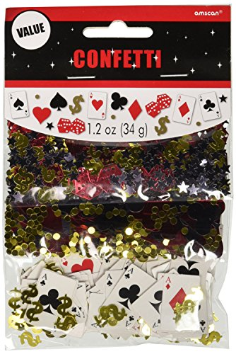 Amscan Fun Casino Theme Party Confetti Decoration Pack Supplies (12 Piece), (Playing Cards Designer Buttons)