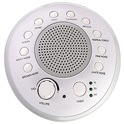 SONEic - Sleep, Relax and Focus Sound Machine. 10 Soothing White Noise and Natural Sound Tracks, with Timer Option. Crystal Clear Quality Sound Speaker & Headphone Jack. USB or Battery Powered