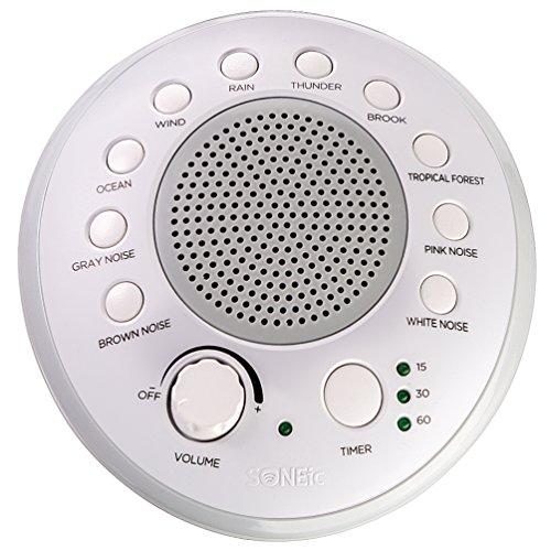 SONEic - Máquina de sonido Sleep, Relax and Focus. 10 calmantes sonidos de ruido blanco y sonido natural, con opción de temporizador. Altavoz de sonido de calidad cristalina y conector para auriculares. USB o alimentado por batería - Blanco