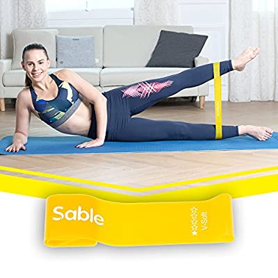 Resistance Exercise Bands for Women Men, Set of 5 with Carry Bag, Sable Workout Stretching Latex Loop for Legs, Physical Therapy, Yoga, Ankle, Pilates, P90x, P90 and Home Fitness