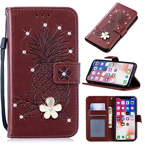 - 3D Crystal Flower Wallet Case for Samsung Galaxy S10 Plus,Aoucase Cute Pinapple Painted Diamond Magnetic Strap PU Leather Card Slot Shockproof Flip Stand Case with Black Dual-use Stylus,Brown