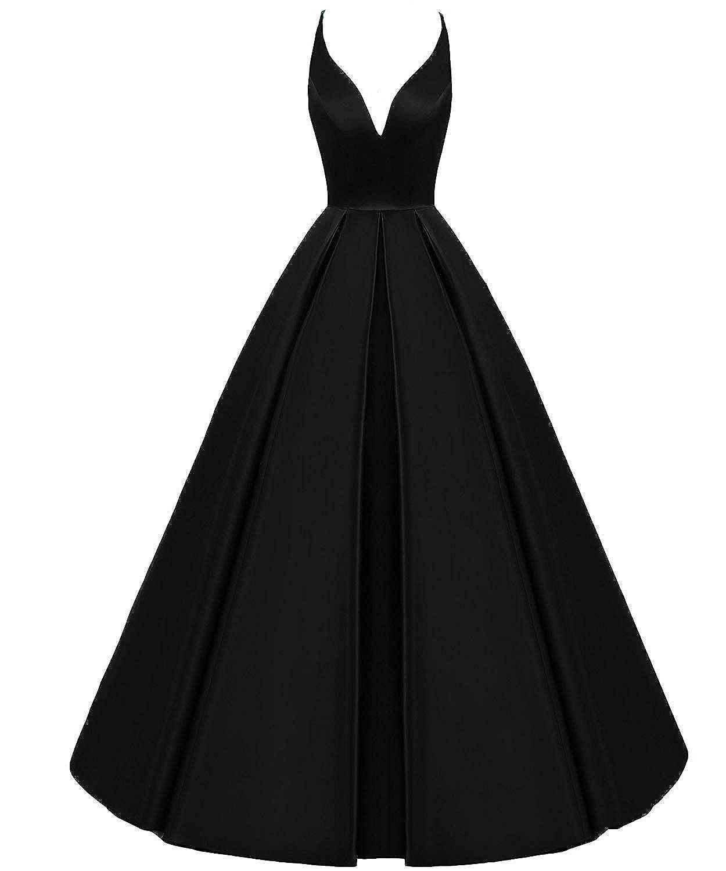 Black ASBridal Prom Dresses Halter Formal Evening Gown Long Satin Wedding Party Dress Backless