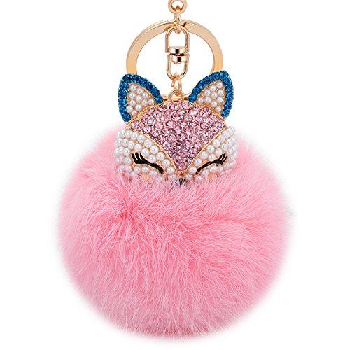(Boseen Genuine Rabbit Fur Ball Pom Pom Keychain with A fashion Alloy Fox Head Studded with Synthetic Diamonds(Rhinestone) for Womens Bag Cellphone Car Charm Pendant Decoration(Pink2))