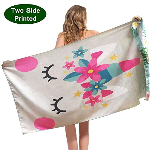 ponyprincess Beach Towel Sand Free Microfiber Beach Towels Blanket-Quick Dry Super Absorbent Lightweight Thin Towel for Adults Women Kids Teens and Girls Idea with Mermaid Cat and Pineapple ()