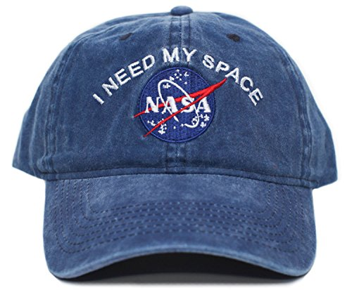 (NASA I Need My Space Pigment Dye Embroidered Hat Cap Unisex Adult Multi (Navy),One)