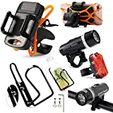 Biking Accessories Kit - Water Bottle Holder / Mount (1) + LED Bike Light (1) + iPhone / Smart Phone Holder (1) + Safety Red Flashing Taillight (1)
