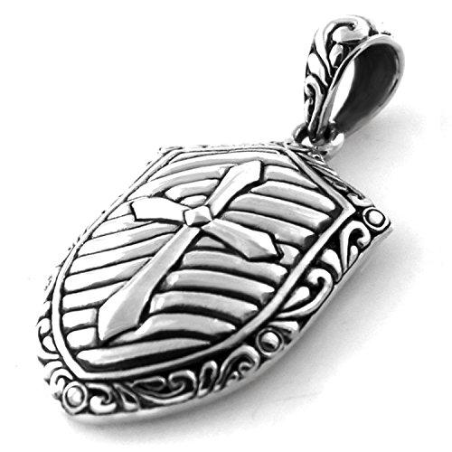 (925 Sterling Silver Crusader Cross Shield)