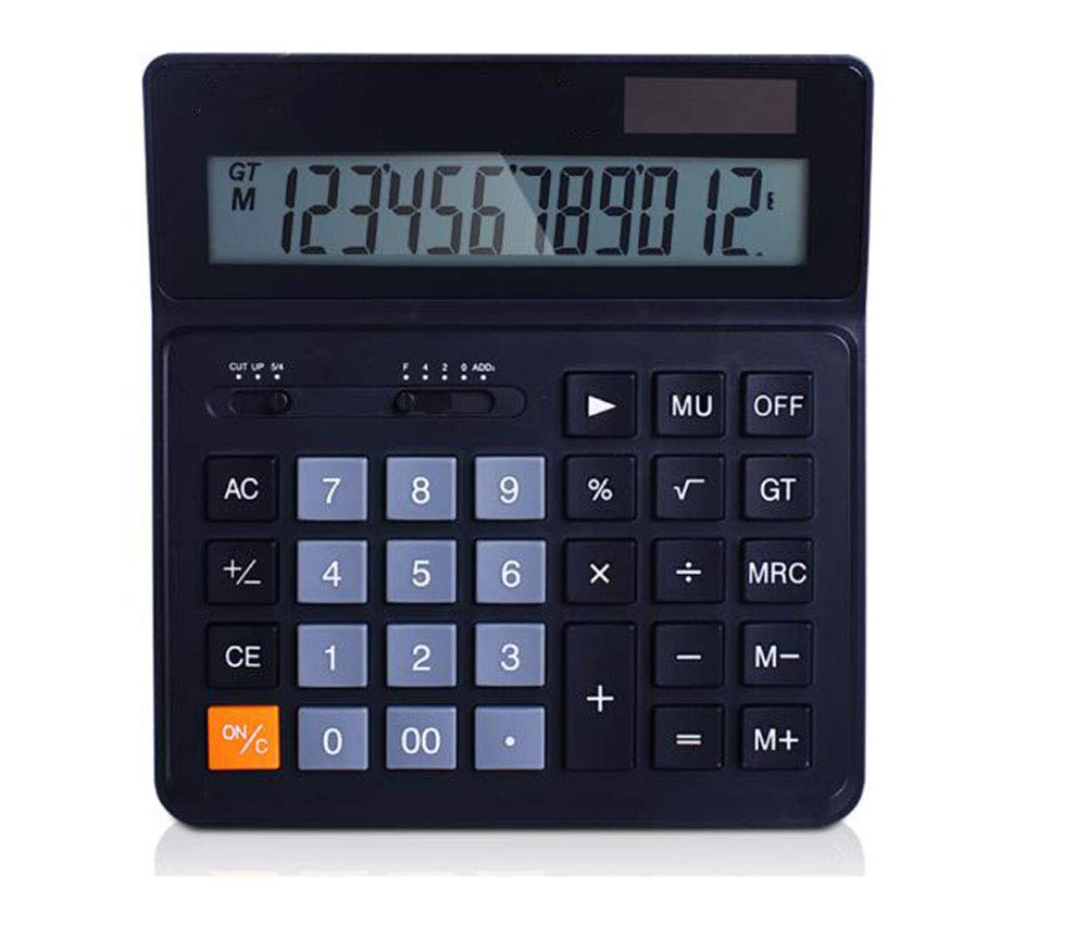 CalculatorDesktop Desktop Computer Solar Dual Power Supply    Plastic Button    12 Digits Large Screen Display Automatic Shut-Down (Black 084)