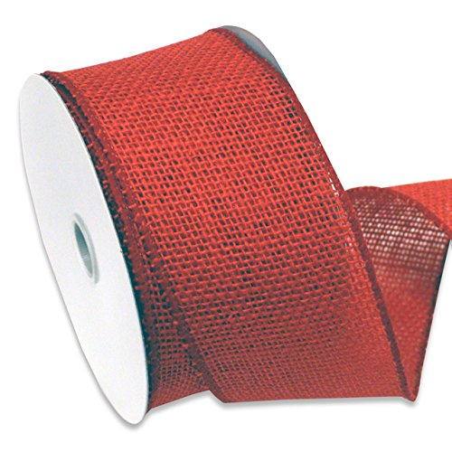 Morex Ribbon 1252.60/10-194  Burlap Wired Ribbon, 2-1/2-Inch by 10-Yard Spool, Rose Red