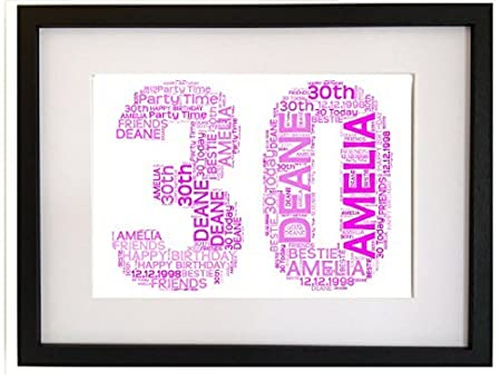 79dc02a1966c Personalised 30th Birthday Gift Present Word Art Print (NO FRAME)   Amazon.co.uk  Kitchen   Home