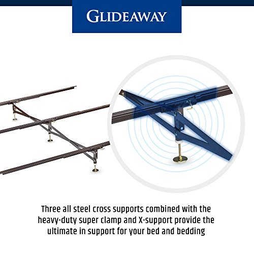 Glideaway X-Support Bed Frame Support System, GS-3 XS Model - 3 Cross Rails and 3 Legs - Strong Center Support Base for Full, Queen and King Mattress, Box Springs, and Bed Foundations
