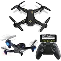 LUCKSTAR RC Drone - 2.4GHz 6-Axis Gyro Remote Control Drone - Foldable Portable Flight Path FPV VR Wifi RC Quadcopter with 720P HD 2MP Camera