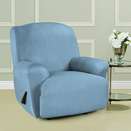 SURE FIT Ultimate Heavyweight Stretch Suede Recliner Slipcover - Pacific Blue (SF46875)