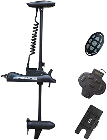 AQUOS Haswing CaymanB 12V 55LBS 48inch or 54inch Bow Mount Electric Trolling Motor for Inflatable Fishing Boat, Saltwater and Freshwater Use