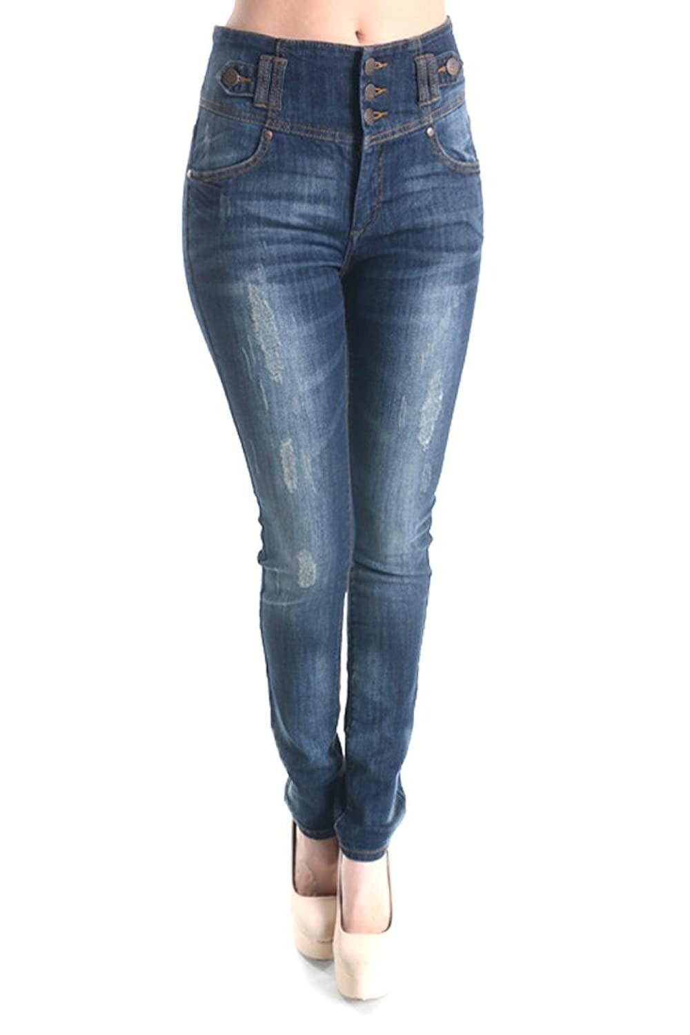 Women's Stretch Destroy High Waist Triple Button Skinny Jean With 5 Pockets