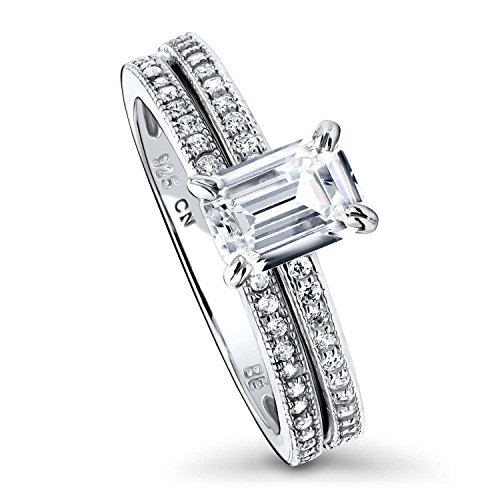 BERRICLE Rhodium Plated Sterling Silver Emerald Cut Cubic Zirconia CZ Solitaire Engagement Wedding Ring Set 1.24 CTW Size 7