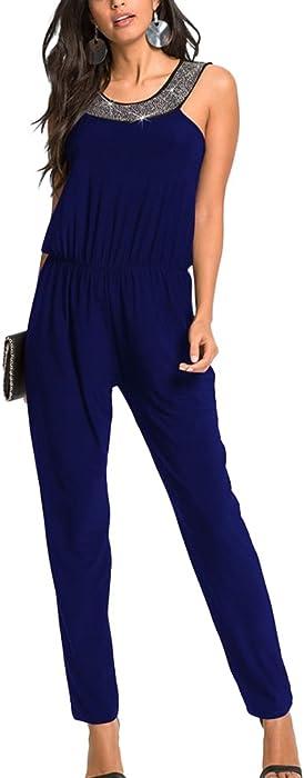a40cc80253a7b Mujer Elegante Cintura Elástica Mono Lentejuelas Sin Mangas Pantalones  Jumpsuits