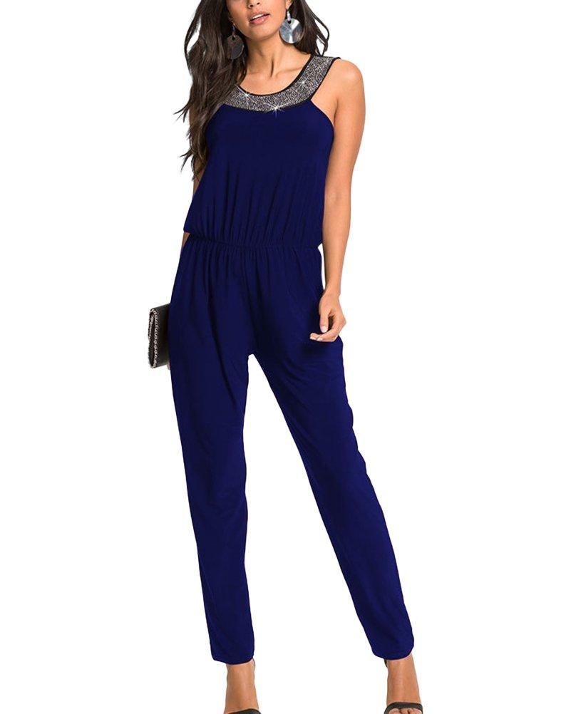 Femme Paillettes Sans Manches Jumpsuit Taille Élastique Élégant Combinaison