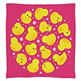 Super Soft Throw Blanket Custom Design Cozy Fleece Blanket,Rubber Duck,Fun Baby Duckies Circle Artsy Pattern Kids Bath Toys Bubbles Animal Print,Pink and Yellow,Perfect for Couch Sofa or Bed