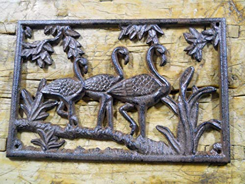 (Flamingo Plaque Sign Florida Home Garden Wall Decor Stepping Stone Vintage Cast Iron Supplies for Home Decor by)