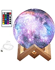 BRITOR Moon Lamp Night Light,16 Colors LED Moon Light with 4 Modes USB Charging and Wooden Stand,Remote & Touch Control(15cm/5.9inch)