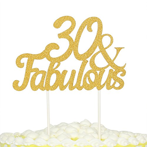 palasasa Gold Glitter 30 & Fabulous Cake Topper, Wedding, Birthday, Anniversary, Party Cupcake Topper Decoration