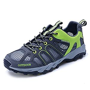 [NEW SIZE VERSION]CraneLin Men And Women's Water Shoes Outdoor Hiking Shoes Mesh Trekking Shoes CLDS6110-Grey-R39
