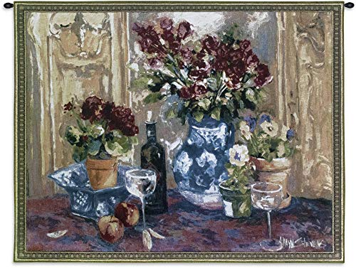 (Red Roses with Wine by Allayn Stevens | Woven Tapestry Wall Art Hanging | Still Life of Red Roses Wine Delft Blue Vase Pansy Blossoms | 100% Cotton USA 40X53)