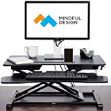 Adjustable Standing Desk - Sit To Stand Elevating Desk Top Converter W/ Keyboard Tray By Mindful Design (Black, Standard)