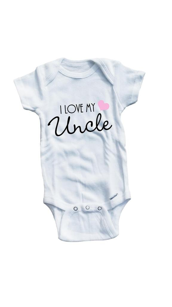 Baby Tee Time Girls' I love my Uncle One piece 12-18 Months White by Baby Tee Time (Image #1)