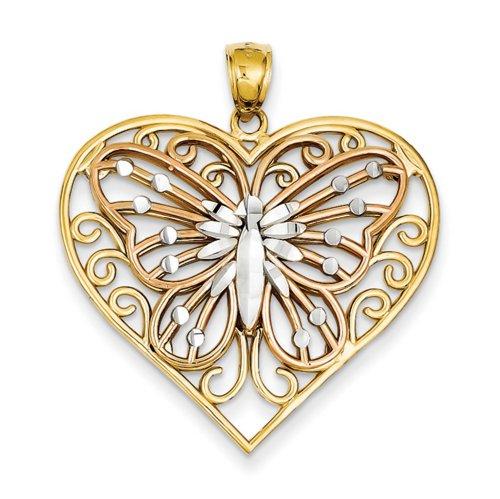 Icecarats Créatrice De Bijoux 14K Y / R Or W / Rhodium Taille Diamant Papillon Sur Pendentif Coeur