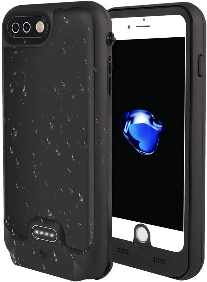 Beacon Pet iPhone 8 Plus/7 Plus Waterproof Battery Case,Built in 3.5mm Earphone Jack&Screen Protector, 4800mAh Portable Charger Case Fully Sealed Waterproof housing for iPhone Plus 5.5inch Screen