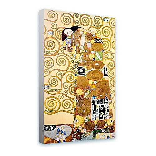 Alonline Art - The Embrace by Gustav Klimt | framed stretched canvas on a ready to hang frame - 100% cotton - gallery wrapped | 24