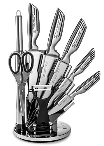 Global Professional Knife Case (Imperial Collection KST12 9-Piece Stainless Steel Kitchen Cutlery Knife Set with Rotating Block Stand, Silver Signature)