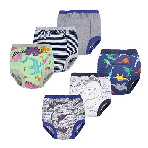 BIG ELEPHANT Unisex-Baby Toddler Potty 6 Pack Cotton Pee Training Pants Underwear (Style E, 18M)