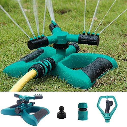 Enjoyee Impact Lawn Sprinkler, Automatic Water Sprinkler for Garden with User Manual, Rotating Adjustable Angle and Distance, Bonus 1 Rotary Sprinkler Head, Waters up to 40' Diameter (Green)
