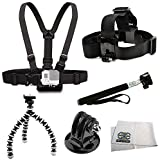 SSE Essentials Accessory Kit Includes Chest Mount + Head Mount + Selfie Monopod + Gripster + Tripod Adapter + Microfiber Cleaning Cloth for GoPro HERO4 Session, HERO4, HERO3+, HERO3 (Black, Silver & White), HERO & HERO+ LCD