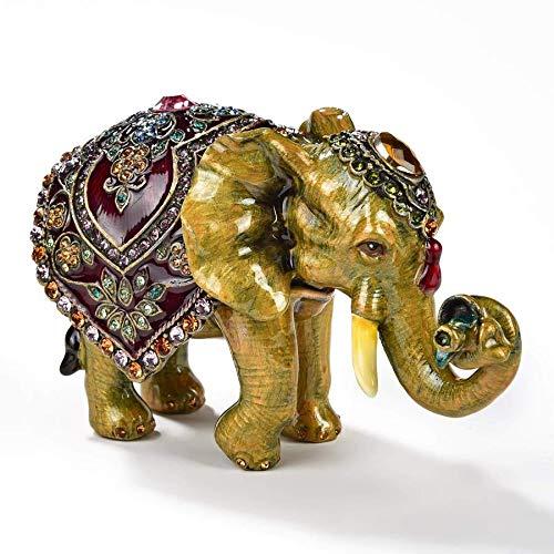 (KALIFANO Elephant Keepsake Box with Purple Amethyst Swarovski Element)