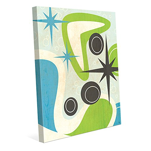 - Retro Sparkle Boomerang In Green And Blue: Postmodern Mid-century Graphic Drawing Illustration Starburst and Abstract Shapes in Turquoise & Lime Wall Art Print on Canvas