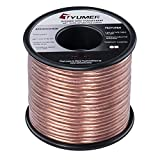 TYUMEN 40 FT Speaker Wire - 2 Conductors 18 Gauge Stranded 99.95% Oxygen Free Copper Wires - for Home Theater Speakers Radio Speakers Car Audio or Any Other Audio Interfaces-Transparent