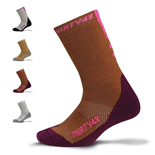 Premium Hiking Socks by Thirty48 :: Cushioned Anti-Bacterial Vegan Wool :: HK Series :: Thermal Performance Crew Socks :: Anti-Odor Moisture Wicking Poly :: Best Socks for Hiking, Mountain Climbing, Winter, Outdoor, Boots, Camping, Travel :: Money Back Guarantee Brown/Pink X-Large