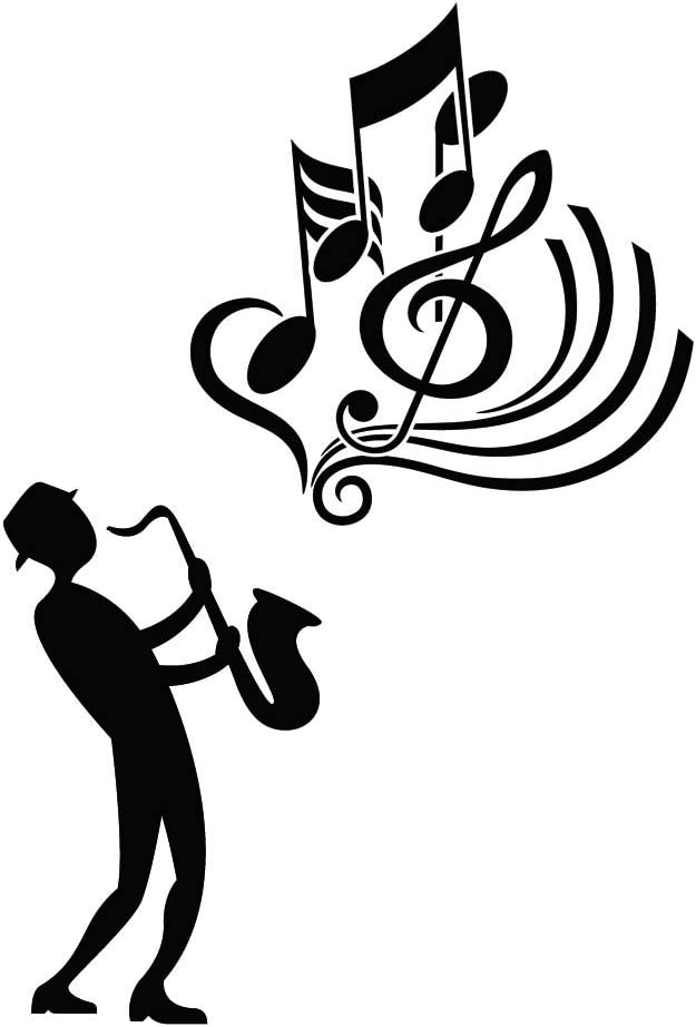"""Home Find Saxophone with Music Note Wall Decals Stickers Man in Black is Playing Saxophone Jazz Music Musical Instrument Removable Art Murals for Music Room Decor 15.7"""" w x 23.2"""" h"""
