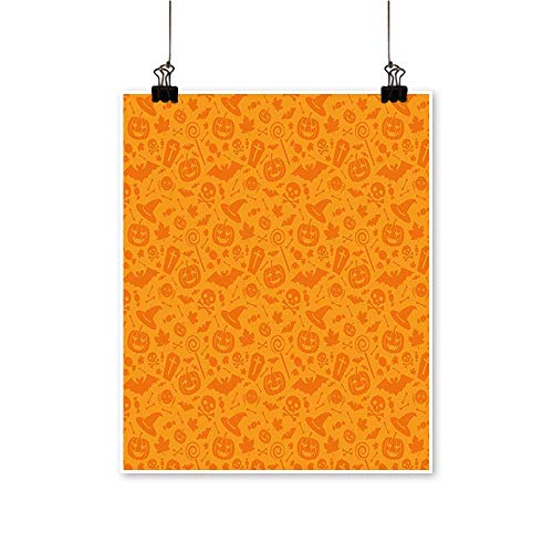 Artwork for Office Decorations Traditi al Halloween Themed Objects Celebrati Day Orange Canvas Living Room,12