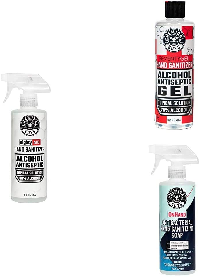 Chemical Guys HYG10016 Alcohol 80% Topical Solution Hand Sanitizer with SeventyGel Hand Sanitizer 70% Alcohol Gel Topical Solution & OnHand Antibacterial Hand Sanitizing Soap (16 oz)